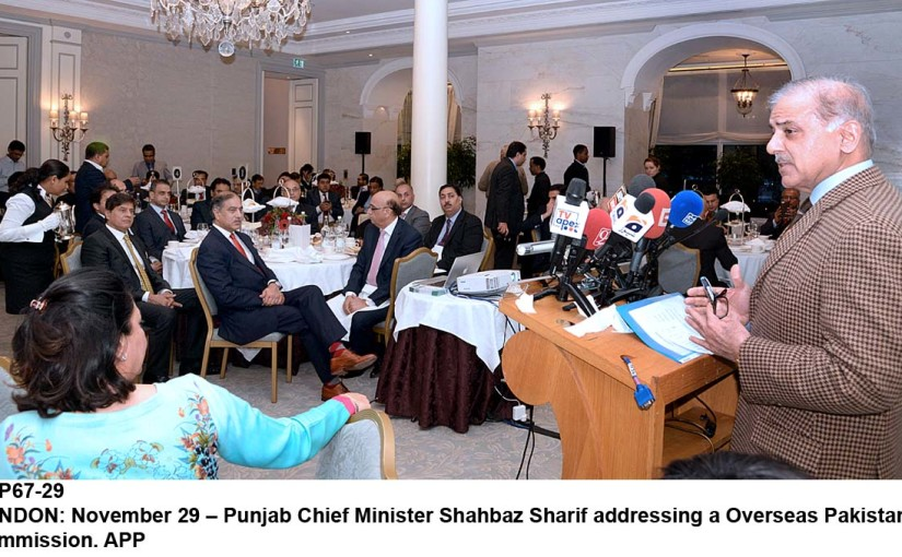 APP67-29 LONDON: November 29 – Punjab Chief Minister Shahbaz Sharif addressing a Overseas Pakistan Commission. APP